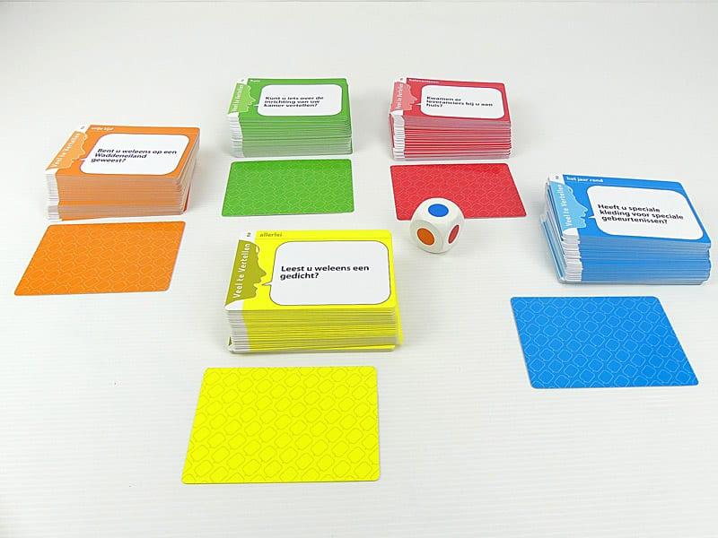Veel te Vertellen spelkaarten voor- en achterkant